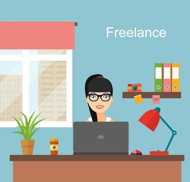 Jeune femme indépendante travaillant à son bureau bureau lieu de travail à domicile illustration vectorielle de style plat