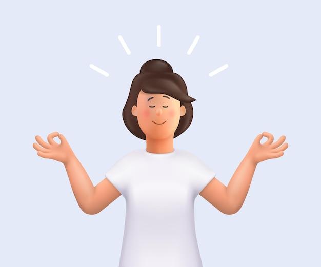 Jeune femme jane méditant pratique de la méditation 3d illustration du personnage