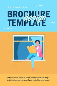 Jeune femme lisant un livre sur le modèle de flyer de rebord de fenêtre