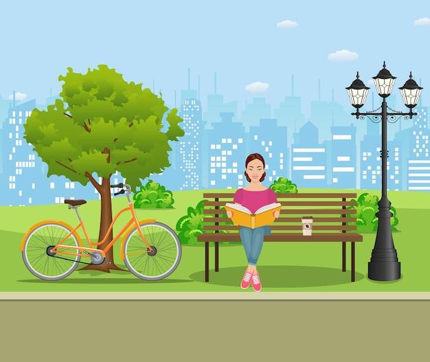 Jeune femme lisant des livres