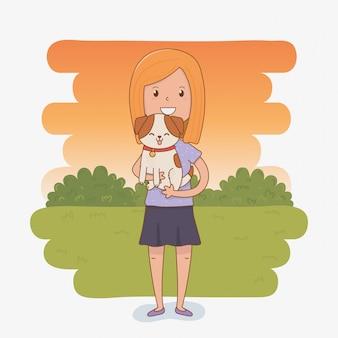 Jeune femme avec une mascotte de chien mignon