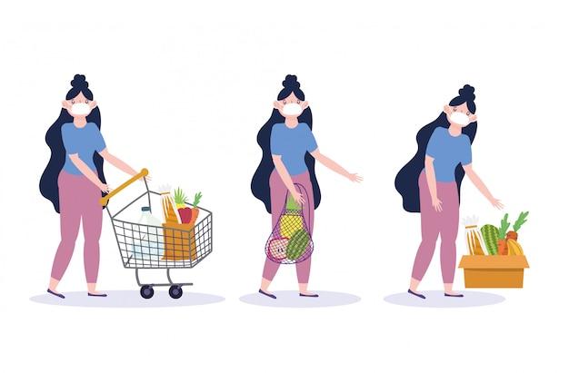Jeune femme, à, masque médical, chariot, boîte, sac, marché, nourriture, livraison, dans, épicerie, illustration