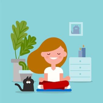Jeune femme méditant en position d'yoga assis. illustration de dessin animé de style design plat.
