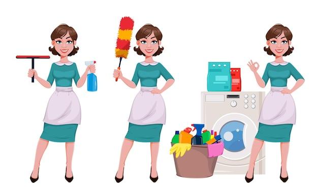 Jeune femme de ménage joyeuse, mère, belle femme réussie