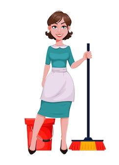 Jeune femme de ménage joyeuse, mère, belle femme