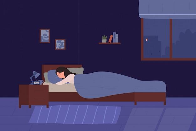 Jeune femme mignonne, dormant dans son lit. chambre de dessin animé fille chambre la nuit. intérieur confortable avec lit, lampe, livres, illustration plate.