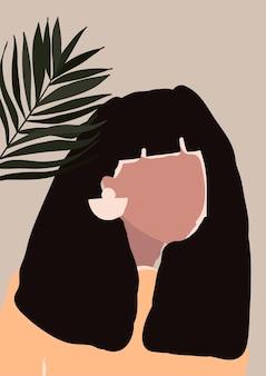 Jeune femme moderne abstraite avec boucles d'oreilles