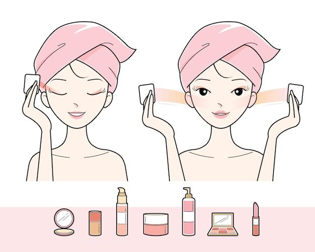 Jeune femme, nettoyage, maquillage, sur, elle, visage