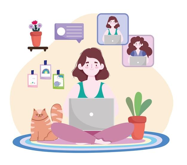 Jeune femme avec ordinateur portable discutant des gens en ligne illustration de bureau à domicile