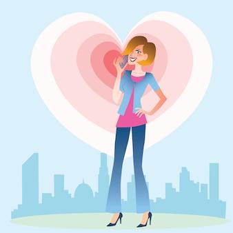 Jeune femme parlant au coeur du téléphone