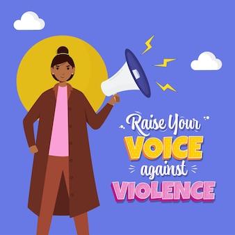 Jeune femme parlant élevez votre voix contre la violence du mégaphone sur bleu