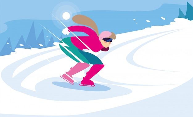 Jeune femme, patinage glace, sports hiver