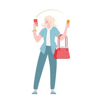Jeune femme payant par carte de crédit pour un achat au design plat