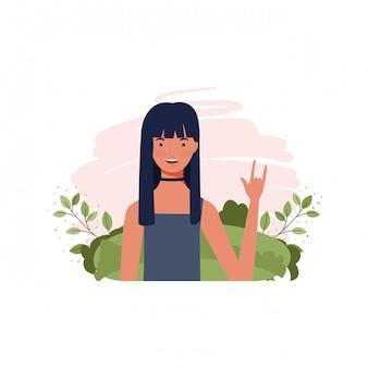 Jeune femme avec paysage