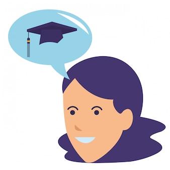 Jeune femme pensant graduation