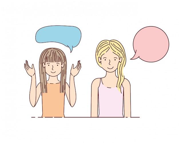 Jeune femme avec personnage avatar bulle de dialogue