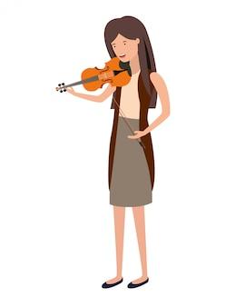 Jeune femme avec un personnage de violon