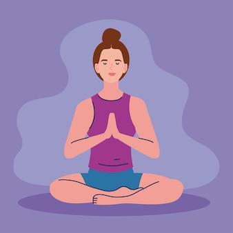 Jeune femme en position du lotus