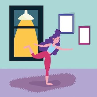 Jeune femme, pratiquer, yoga, activité, sport, exercice, chez soi