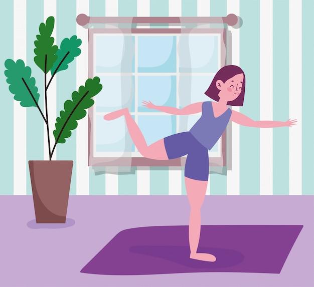 Jeune, femme, pratiquer, yoga, natte, activité, sport, exercice, maison