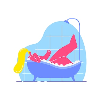 Jeune femme prenant un bain plat