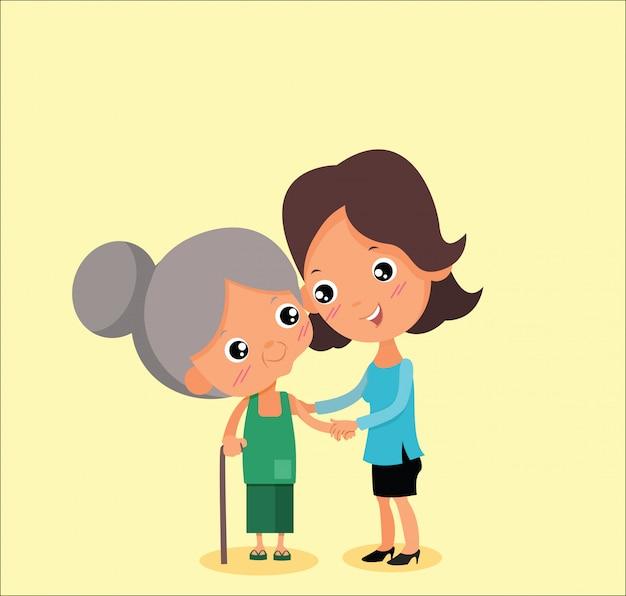 La jeune femme prend soin de la vieille femme
