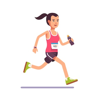 Jeune femme qui court un marathon