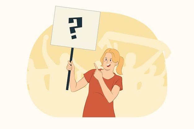 Jeune femme qui proteste pointant l'index sur les signes de protestation concept de plaque vierge grand format