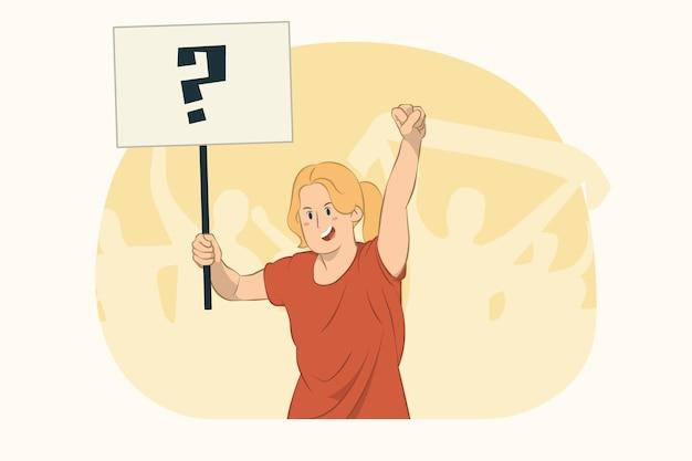Jeune femme qui proteste tenir le concept de plaque de grand format de signe de protestation