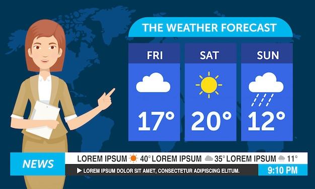 Jeune femme reporter météo travaillent à la télévision
