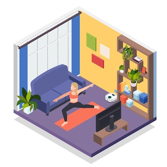 Jeune femme restant à la maison illustration d'entraînement d'yoga isométrique