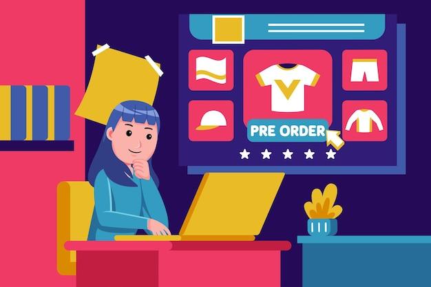 Jeune femme s'asseoir pour acheter des produits avec ordinateur portable