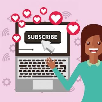 Jeune femme s'inscrire canal ordinateur portable aime