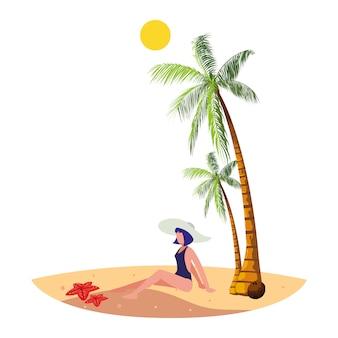 Jeune femme sur la scène d'été de la plage