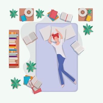 Jeune femme se détendre dans un matelas dans la chambre