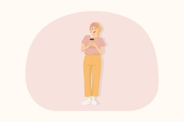 Jeune femme se détendre à la maison tenir une tasse de café en papier le matin concept