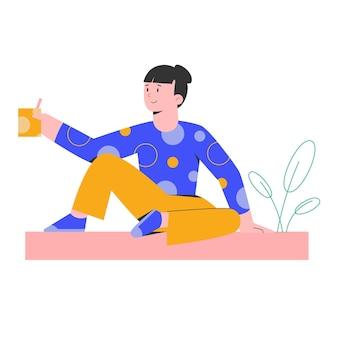 Jeune femme se détendre avec un verre