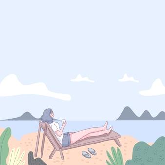 Jeune femme se fait bronzer au bord de la mer, vacances sur la plage de la mer, palmiers tropicaux et sable. illustration dans un style plat