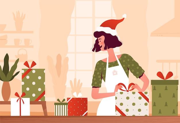 Jeune femme se prépare pour noël et emballer des cadeaux pour l'appartement de dessin animé familial