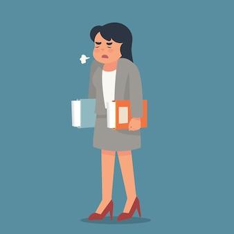 Jeune femme se sentant contrariée par son travail