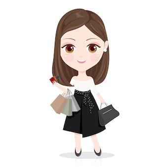 Jeune femme shopping