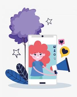 Jeune femme smartphone mégaphone message amour médias sociaux