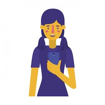 Jeune femme avec smartphone