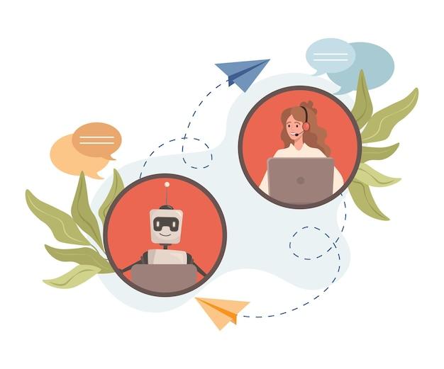 Jeune femme souriante discutant avec robot vector illustration plate artificielle