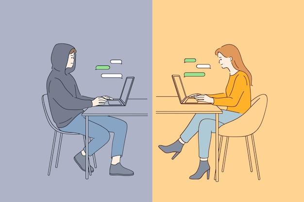 Jeune femme souriante heureuse assis à l'ordinateur portable