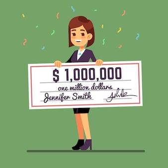 Jeune femme souriante tenant un chèque de prix d'un million de dollars.
