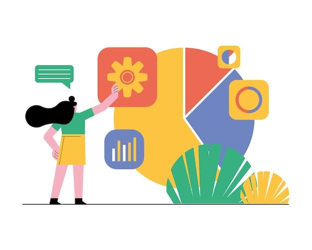 Jeune femme, à, statistique, graphiques, et, icônes, illustration