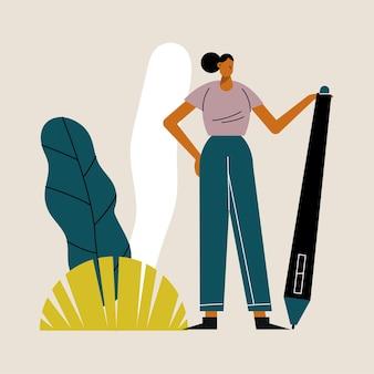 Jeune femme, à, stylo, fourniture, scène extérieure, illustration