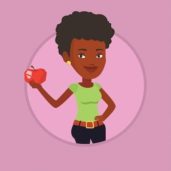 Jeune femme tenant illustration vectorielle apple.