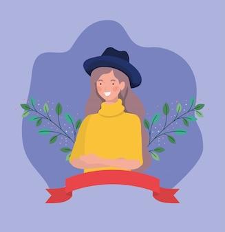 Jeune femme avec tophat et ruban de cadre